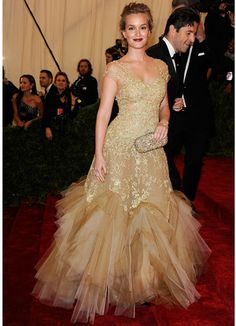 Leighton Meester in Marchesa Fall 2012 Gown & Clutch at the Met Gala