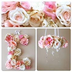 "SALE, Baby mobile and matching 19"" flower letter, Floral mobile, Floral letter, mobile with genuine Swarovski crystals, Nursery decors"
