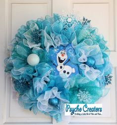 Frozen Deco Mesh Wreath Disney Winter Olaf Blue by PsychoCreators