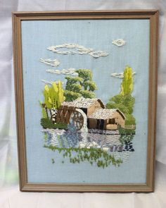 Framed House Crewel Embroidery Finished VTG Pond Water Wheel Ducks Trees Blue