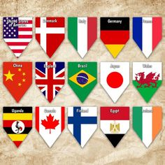 World Flags Printable Banner - Includes 64 flags with names - Printable Banner - Printable Bunting - Flags With Names, All Flags, Flags Of The World, World Flags Printable, Printable Banner, Printables, Flag Banners, Digital Image, Egypt
