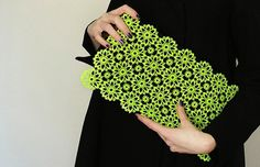 Lovely DIY lace + neon clutch, perfectly on trend for Spring 2013.