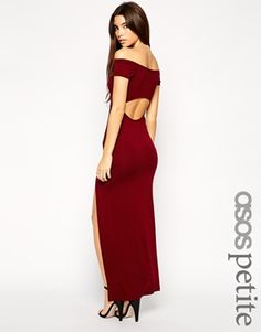 ASOS PETITE Exclusive Bardot Bodycon Maxi Dress with Thigh Split