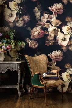 Dark floral wallpaper for powder room Flower Wallpaper, Of Wallpaper, Interior Wallpaper, Large Floral Wallpaper, Wallpaper Ideas, Fashion Wallpaper, Wallpaper Designs, Designer Wallpaper, Reading Wallpaper
