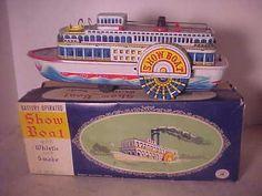 1950's Japan Tin Batt Op Riverboat Whistle Smoke in Orig Box