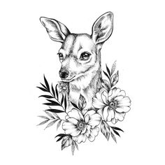 No photo description available. Tattoo Sketches, Tattoo Drawings, Art Sketches, Art Drawings, Blackwork, Animal Sketches, Animal Drawings, Hase Tattoos, Hirsch Tattoo