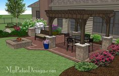 Our Traditional Brick Patio Design with Pergola, Grill Station and Fire Pit will create a fabulous outdoor living space you can enjoy all year. Backyard Patio Designs, Backyard Pergola, Pergola Designs, Backyard Landscaping, Gazebo, Pergola Ideas, Pergola Kits, Backyard Ideas, Back Yard Patio Ideas