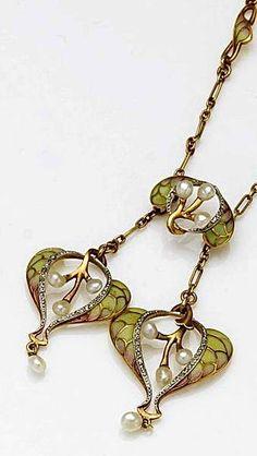 Diamond, pearl, plique-à-jour enamel and gold necklace.
