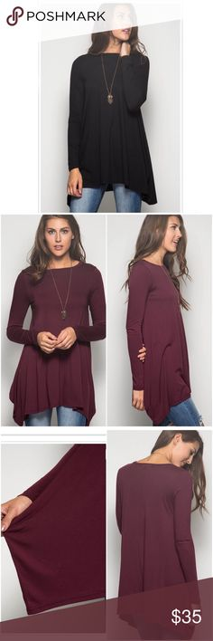 🆕NWT Black Long Sleeved Tunic Top NWT Black Long Sleeved Tunic Top. The perfect versatile top for fall and winter! A stretchy top with a flattering fit. Tunic length with longer cut sides. Fabric is Cotton/Rayon blend. Fits true to size, Small (0-4), Medium (6-8), Large (10-12). 🚫No Trades and No Paypal🚫PRICE IS FIRM unless bundled. Also available in burgundy/wine color. Tops Tunics