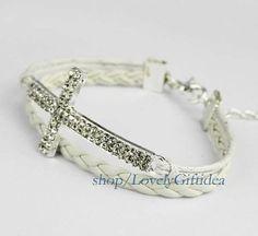 Shiny Diamond cross bracelet Crystal cross jewelry Rhinestone cross charm,white leather white rope,bridesmaid bracelets wedding jewelry. by LovelyGiftidea, $2.99