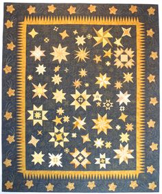 "Star Light Star Bright, 88"" X 105"", 2016 raffle quilt. Suncoast Quilting Circle (Florida). Designed and custom quilted by Barbara Trapp of Paradise Quilting. Machine pieced and hand appliquéd by members of SQC of St. Petersburg, FL."