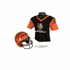 NFL® Helmet and Jersey Set - Cincinnati Bengals - The authentic NFL® Helmet and Jersey Sets include a team helmet with chin strap and a mesh team jersey. Available for all NFL® teams. - See more at: http://franklinsports.com/shop/nfl-helmet-jersey-set