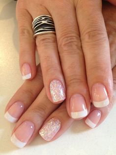 Bio Sculpture Gel French manicure: #87 – Strawberry French (base colour) #3 – Snow White with iridescent glitter feature nail