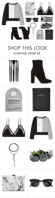 """""""Outfit (winter travel inspired) #14"""" by tayscutts ❤ liked on Polyvore featuring Illamasqua, Gianvito Rossi, Sephora Collection, FOSSIL, LoveStories, 10 Crosby Derek Lam, Vanessa Mooney, Dot & Bo, Balenciaga and H&M"""