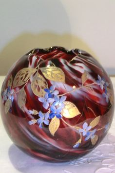 HARRACH DARK RED/WHITE GLASS BOWL WITH ENAMELED FLOWERS IN BLUE AND GOLD. Circa 1890 www.madforglass.com How Beautiful, Beautiful Things, Dark Red, Red And White, Glass Figurines, Glass Collection, Wind Chimes, Roman, Glass Art