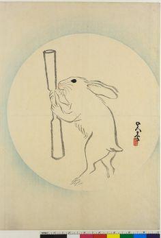 Woodblock print, Shijo surimono. Rabbit with pestle in front of full moon. Printed signature & seal; poems above. Print artist: Go Shun (呉春, Matsumura Gekkei). Maruyama-Shijo School. Edo Period. Date: 1801-1850. Published in: Osaka-shi (?) (Asia, Japan, Osaka-fu, Osaka-shi) Published in: Kyoto-shi (Asia, Japan, Kyoto-fu, Kyoto-shi) Materials: paper Technique: woodblock Height: 38.4 centimetres Width: 52.4 centimetres. British Museum number: 1993,0405,0.1