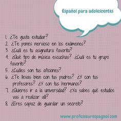 Actividad para trabajar la expresión oral con estudiantes adolescentes. www.professeurespagnol.com