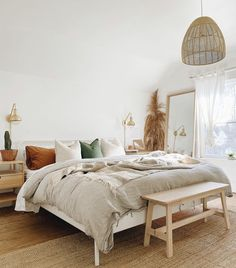 Inspiration for your next Bohemian bedroom makeover - Inspiration for your next Bohemian bedroom makeover Take a look at our favorite boho bedrooms for - Room Ideas Bedroom, Home Bedroom, Bedroom Decor, Bed Room, Bedroom Signs, Decorating Bedrooms, Master Bedrooms, Bedroom Mirrors, Warm Bedroom