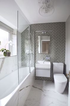 Small bathroom does not have to be boring. One of my favorite bathroom projects! … Small bathroom doesn't need to be boring. One of my favourite bathroom projects! Love the combination of herringbone and marble effect tiles in this bathroom, which togethe Modern Bathroom Design, Bathroom Interior Design, Modern Bathroom Sink, Modern Bathrooms, Industrial Bathroom, Ideas Baños, Decor Ideas, Decorating Ideas, Tile Ideas