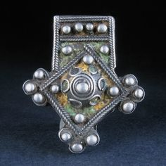 Old ENAMELLED SILVER CROSS PENDANT. Ida Ou Nadif, Morocco. Available.