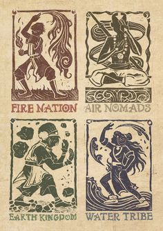 Avatar: The Benders by MonicaMcClain.deviantart.com on @deviantART  I love how each Element has its own thing; like Fire is fire NATION and water is water TRIBE and... I don't know, I thought that was interesting...