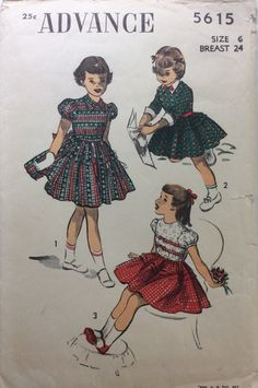 1950s girls party dress with full skirt Advance 5616 Uncut vintage sewing pattern Chest 24 Waist 22 Retro 50s Mid Century rockabilly style by 101VintagePatterns on Etsy