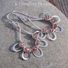 Pink Tutus - Pink Tourmaline Sterling Silver Jewelled Teardrop Earrings (KS25) | by KSJewelleryDesigns