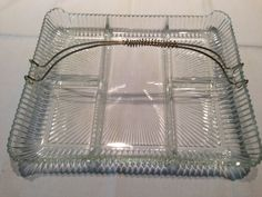 SALE Vintage Star Burst Center Relish Tray,Wire Handle,Clear Glass,Saw Tooth Edge,Depression Glass,Vintage,Divided,Tableware,Heavy Glass by Sunshineoftreasures on Etsy