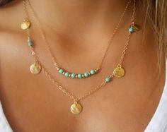 Turquoise Lariat Necklace Layering Necklace 14K by annikabella