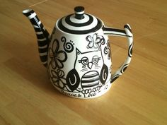 No Color Necessary  A Handpainted Teapot by CocoagirlnLush on Etsy, $45.00