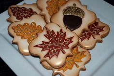 Elegant Autumn / Fall leaves - Thanksgiving Cookies - One Dozen Decorated Sugar Cookies on Etsy, $48.00