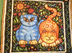 Cats Quilted Mug Rugs set of 2  Large Coasters by SEWFUNQUILTS, $16.00