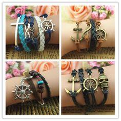 Rudder charm bracelets jewelry, rudder bracelet, infinity bracelets, bead bracelets, anchor bracelets, love bracelets, best friend gift