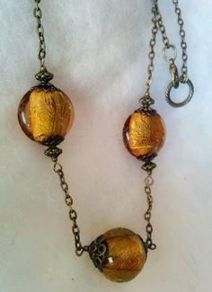 Mézcsepp - borostyánsárga nyaklánc  réz gyöngyökkel (gaboca) - Meska.hu Handmade Necklaces