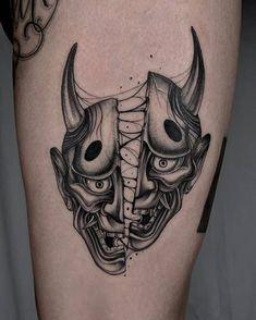 50+ Oni Mask Tattoos: Origins, Meanings & Tattoo Artists Samurai Mask Tattoo, Oni Mask Tattoo, Hanya Tattoo, Japanese Hannya Mask, Japanese Mask Tattoo, Japanese Tattoo Designs, Hannya Maske Tattoo, Mascara Oni, Tatoo Manga