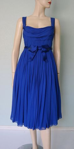 1950s60s Suzy Perette Violet Blue Pleated Silk by KittyGirlVintage, $225.00