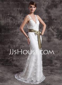 Wedding Dresses - $168.69 - A-Line/Princess V-neck Court Train Satin Lace Wedding Dresses With Lace Sashes (002015007) http://jjshouse.com/A-line-Princess-V-neck-Court-Train-Satin-Lace-Wedding-Dresses-With-Lace-Sashes-002015007-g15007