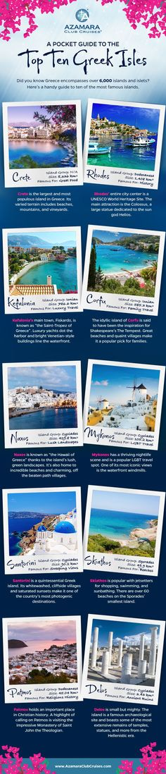 This infographic serves as an easy and helpful guide to the top ten Greek Isles - add them all to your travel bucket list!