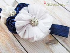Navy Blue and White Headband Satin & by TheFairyFactoryShop