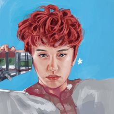 Chanyeol fanart, first time coloring in photoshop. Need 9 hours to finish it, yet the color still not good