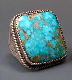 1940 BEAUTIFUL MORENCI TURQUOISE RING