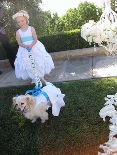 Littler girl and dog flower girls