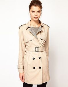 Kookai Trench Coat w/Contrast Check Detail