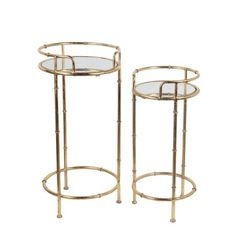 Free Shipping. Buy 2 Piece Gold Leaf Finish Metal and Glass Round Plant Stands at Walmart.com