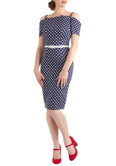 Dot This Down Dress by Bettie Page - Long, Blue, White, Polka Dots, Party, Nautical, Pinup, Sheath / Shift, Spaghetti Straps, Belted, Off the Shoulder, Cocktail, Cotton, 40s, 50s
