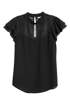 Blouse in woven fabric with a small stand-up collar, opening at back of neck with buttons, and lace yoke at front. Pretty Outfits, Stylish Outfits, Beautiful Outfits, Cute Outfits, Pretty Clothes, Stitch Fix Stylist, Fashion Essentials, Blouse Dress, Plus Size Blouses