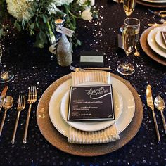 Gorgeous Gold Starry Night Table Setting for an Evening Wedding