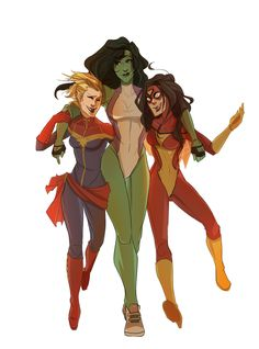 Buddies! BroT3. Carol Danvers, Jennifer Walters, and Jessica Drew by mortovox