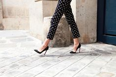 pants with dots, louboutin, white blouse