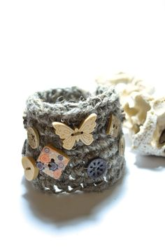 Crochet boho chic bracelet-Hippie Jute wristband-Textile linen cuff-Rustic bracelet-crochet accessories-Fiber wristlet-Mom gift-Gypsy